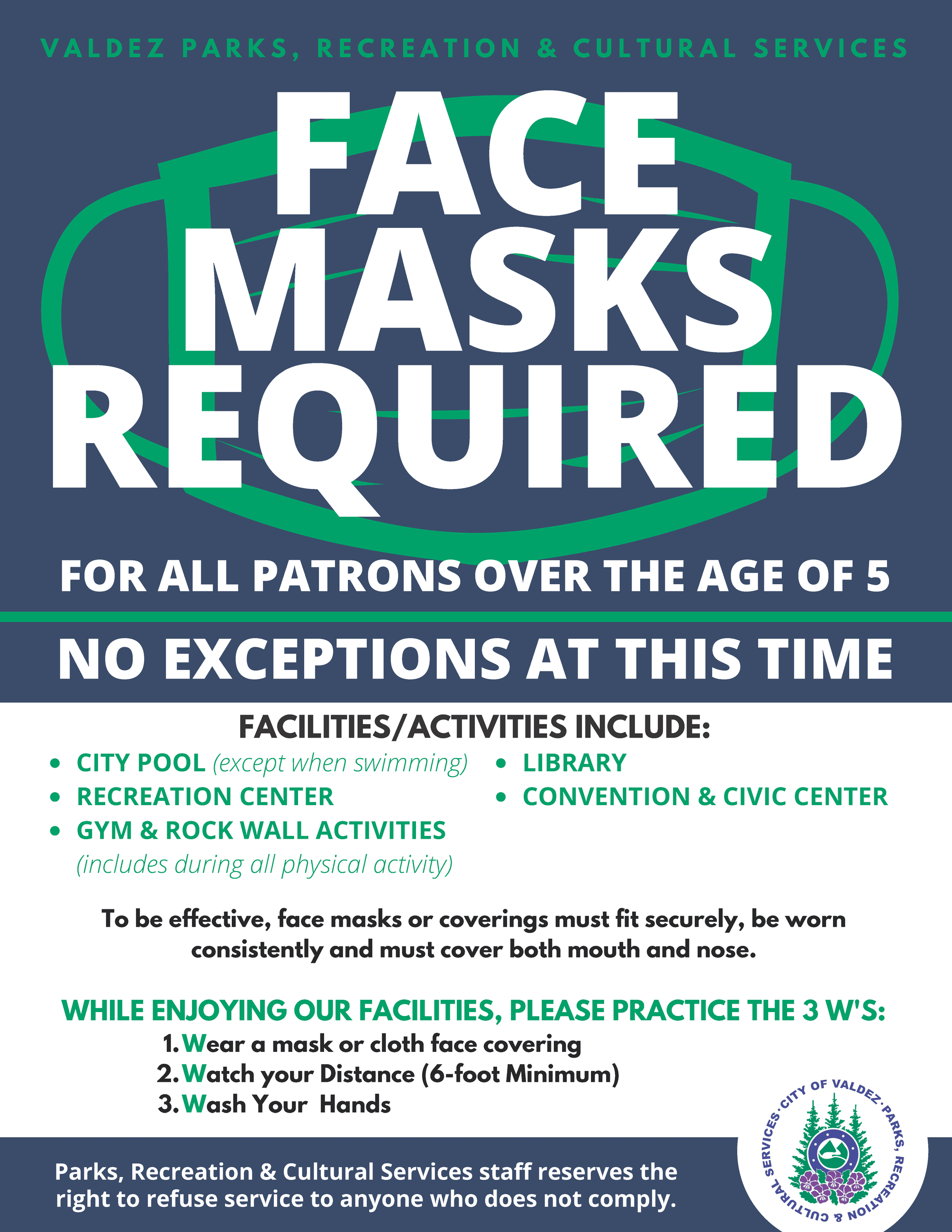 PRCS Face Masks Required Opens in new window