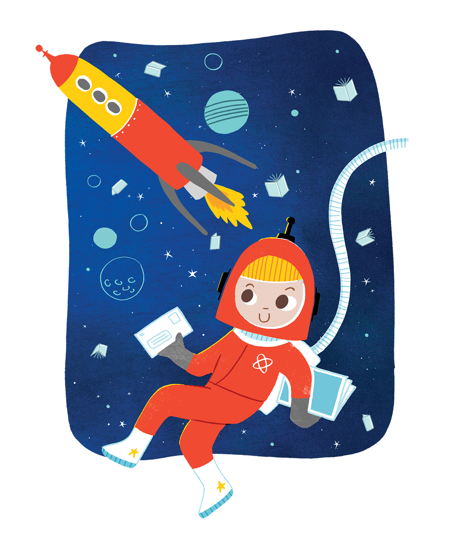 Drawing of child in space
