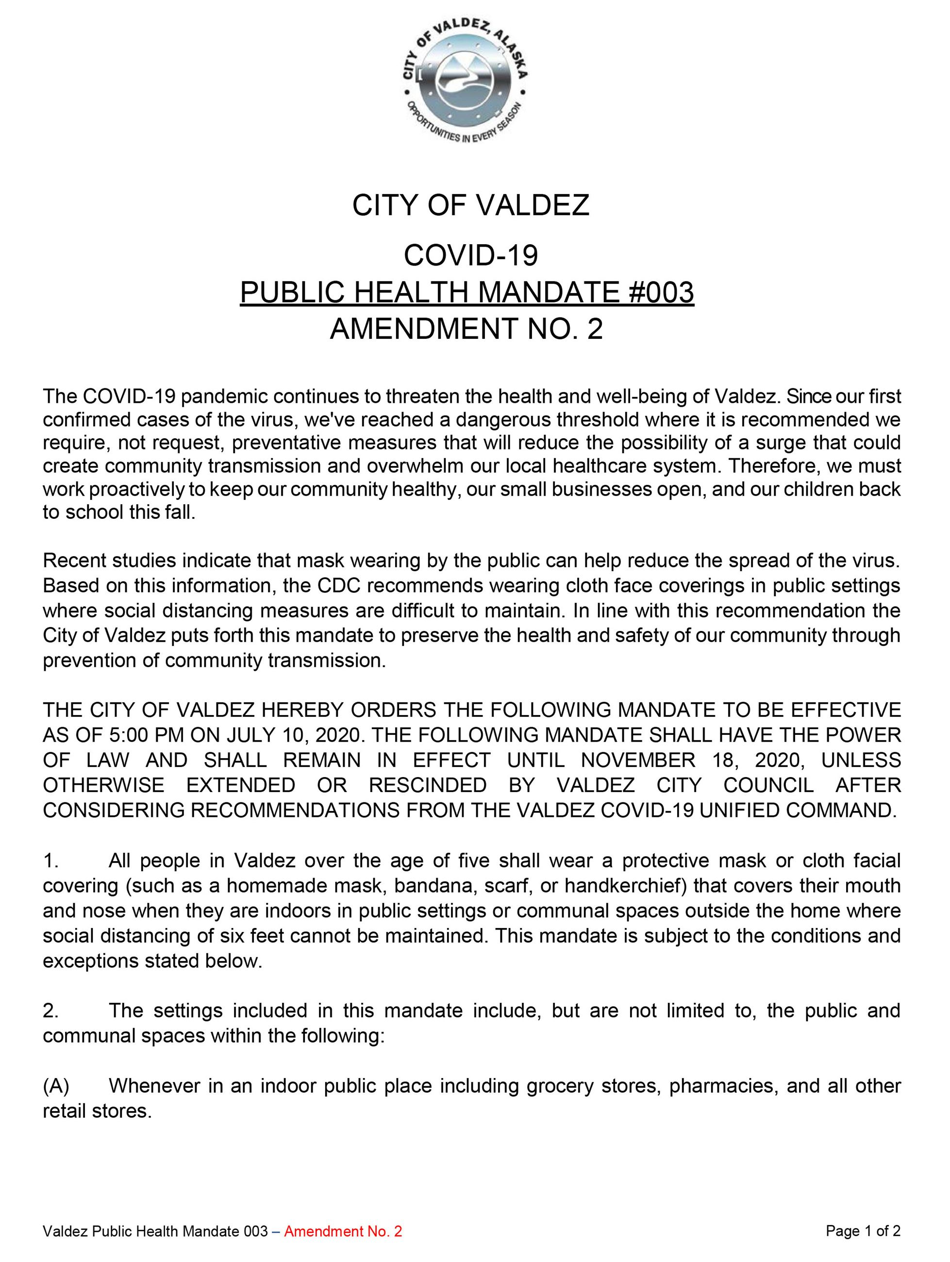 Amendment 002 to Public Health Mandate 003 Requiring Masks-1