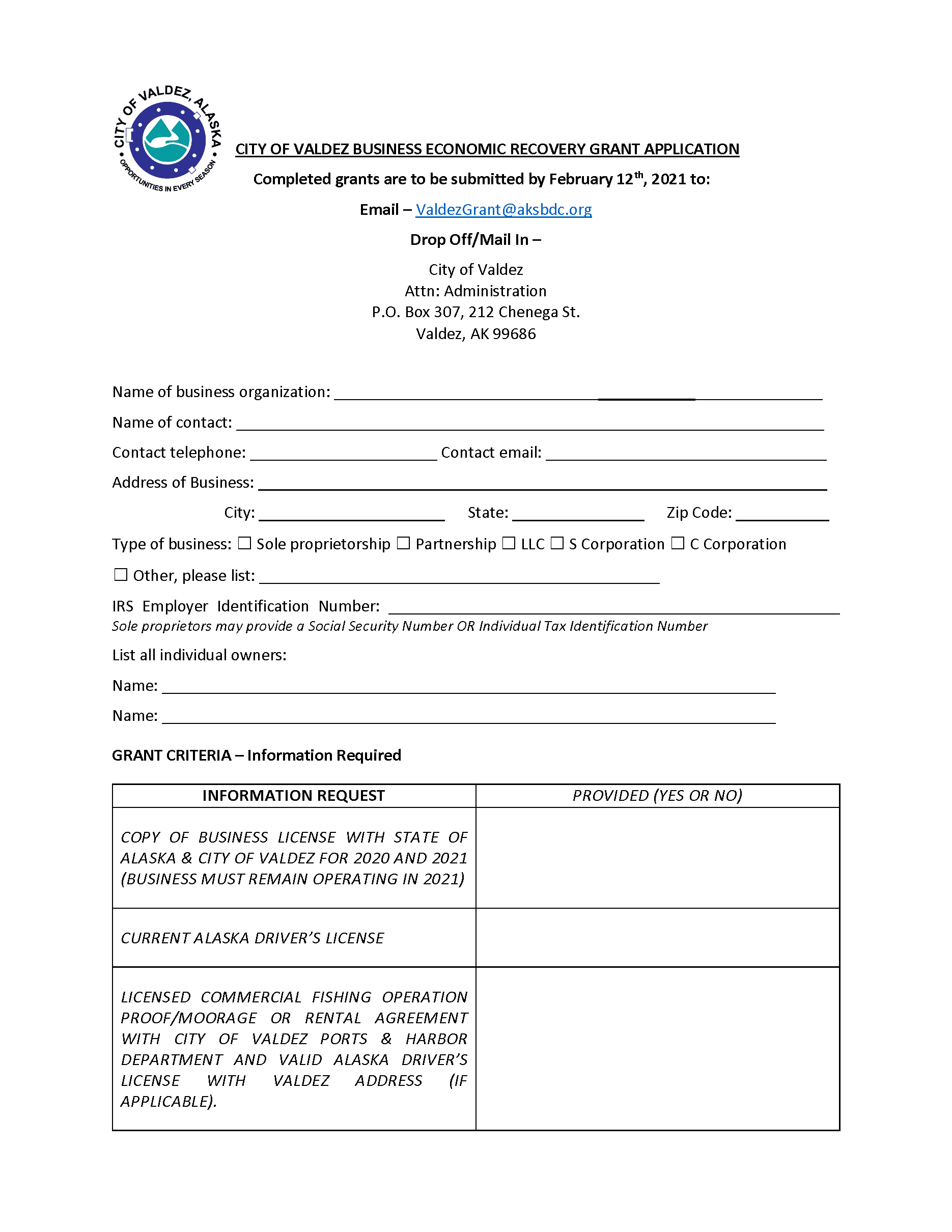 City of Valdez Business Economic Recovery Grant Application 2021